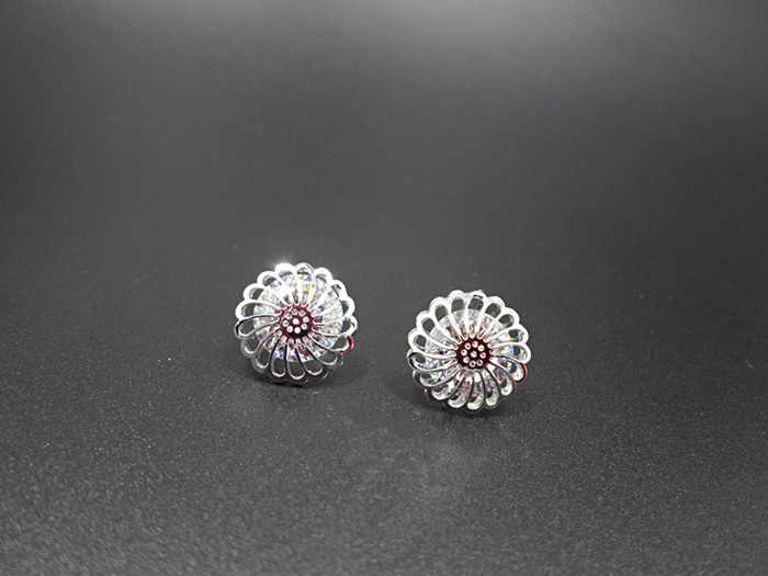 Wholesale New Arrival Jewelry hollowed-out  Flower Zircon Crystal Stud Earrings for Women Girl VGE047 2