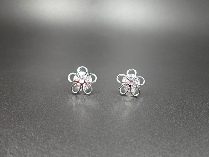 Wholesale New Arrival Jewelry hollowed-out  Flower Zircon Crystal Stud Earrings for Women Girl VGE047 3