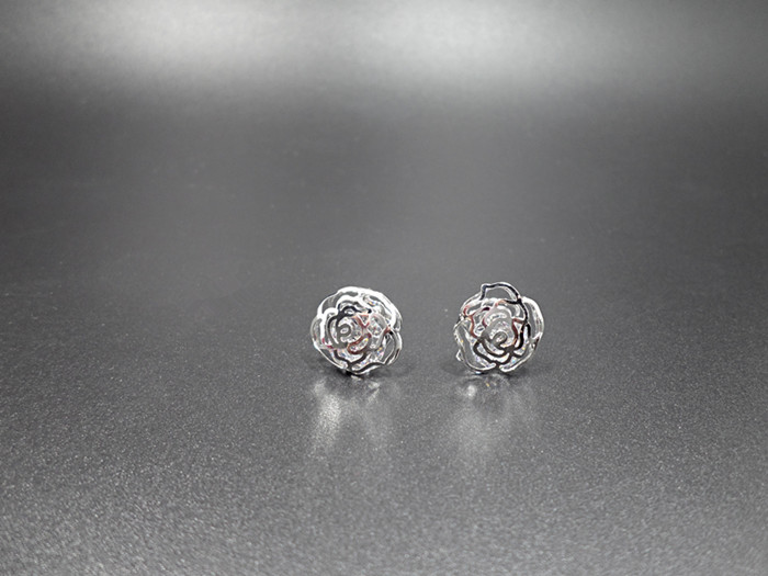 Wholesale New Arrival Jewelry hollowed-out  Flower Zircon Crystal Stud Earrings for Women Girl VGE047 4