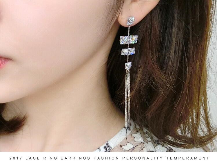 Wholesale Women's Earrings Hanging Rectangular Zircon Tassel Earrings Fashion Charm Banquet Engagement Earrings VGE092 0