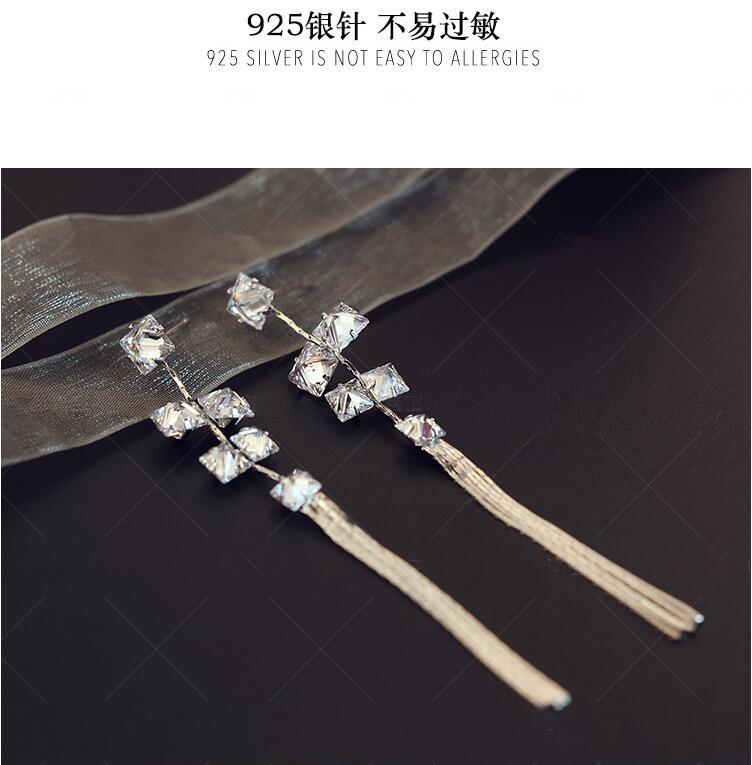 Wholesale Women's Earrings Hanging Rectangular Zircon Tassel Earrings Fashion Charm Banquet Engagement Earrings VGE092 2