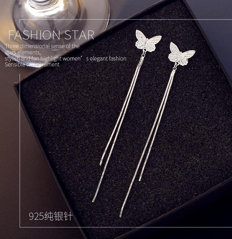 Wholesale Long Tassel Butterfly Drop Earrings Silver Color 2020 Fashion Hanging Women Earrings Summer Jewelry Girls GIfts VGE093 2