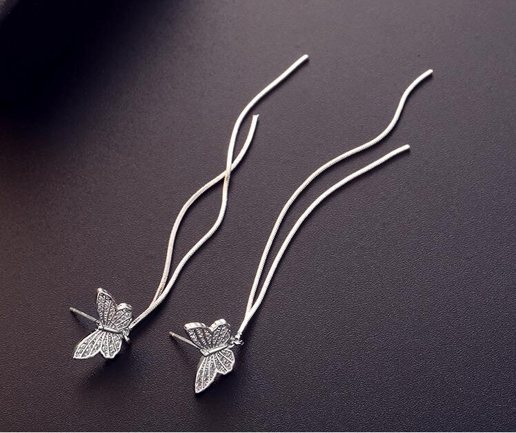 Wholesale Long Tassel Butterfly Drop Earrings Silver Color 2020 Fashion Hanging Women Earrings Summer Jewelry Girls GIfts VGE093 4
