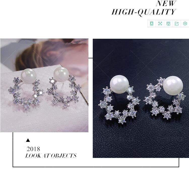 Wholesale Fashion Cute Exquisite Flower Stud Pearl Crystal Earings White Zircon For Women Jewelry Wedding Party Gifts  VGE094 1