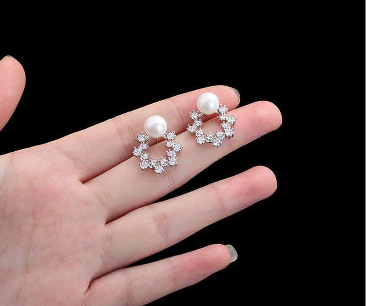 Wholesale Fashion Cute Exquisite Flower Stud Pearl Crystal Earings White Zircon For Women Jewelry Wedding Party Gifts  VGE094 5