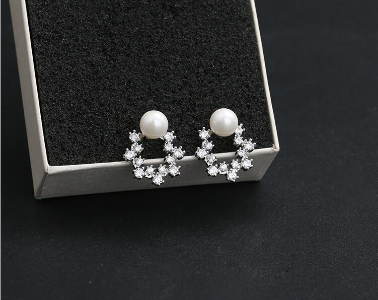Wholesale Fashion Cute Exquisite Flower Stud Pearl Crystal Earings White Zircon For Women Jewelry Wedding Party Gifts  VGE094 6