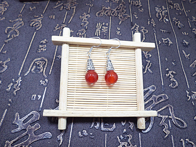 Wholesale Natural gem earrings vintage tibetan earrings for women red onyx ethnic fine jewelry women gift VGE095 2