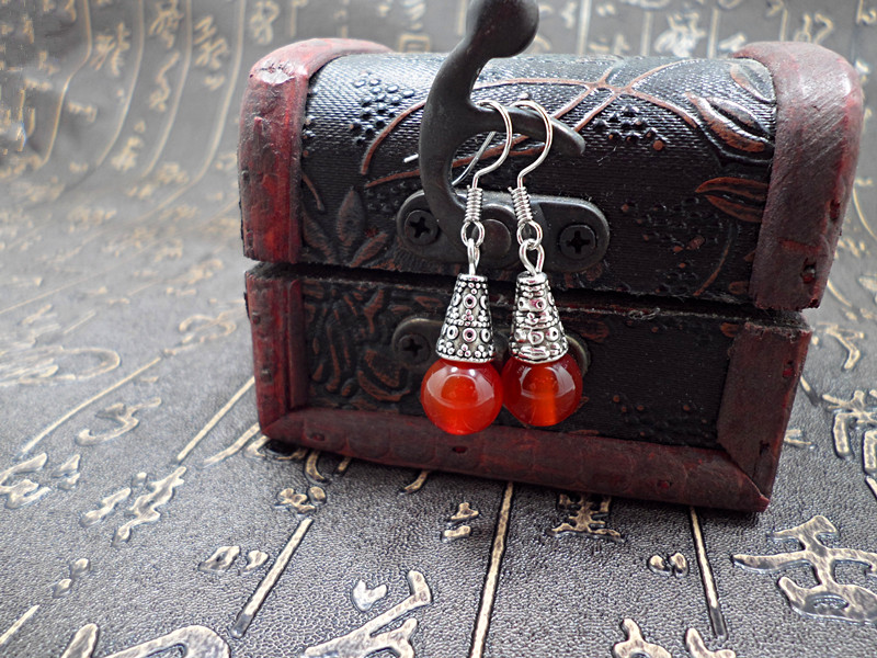Wholesale Natural gem earrings vintage tibetan earrings for women red onyx ethnic fine jewelry women gift VGE095 4