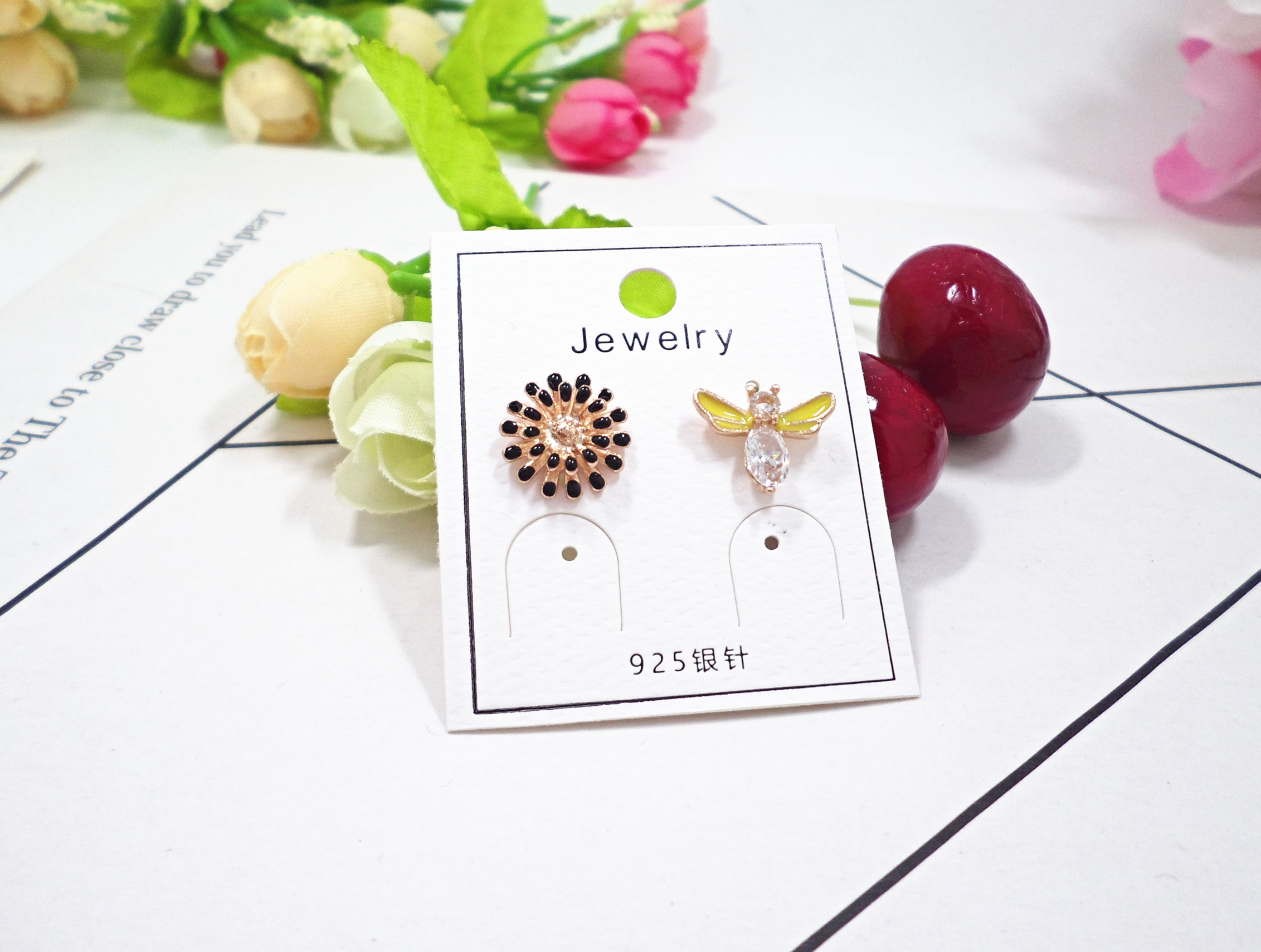 Wholesale Lot Zinc Alloy Metal Cute Bee Sunflower Shape Enamel Charms Fashion Earring Bracelet Making Pendants VGE185 4