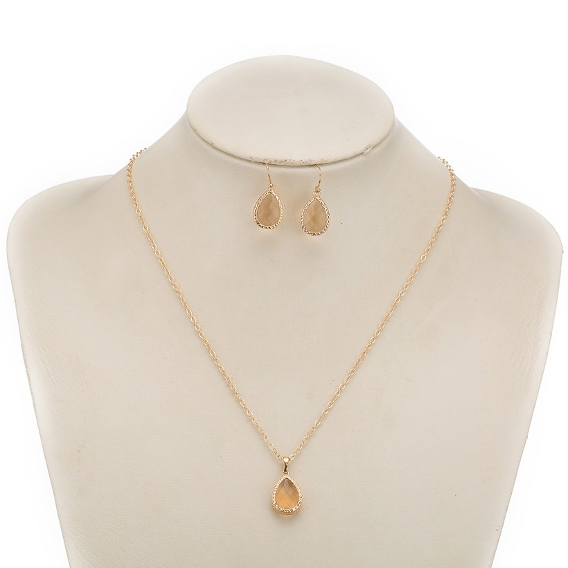 Wholesale Trendy Antique Gold Water Drop Beige Glass Jewelry Set TGCJS030 8