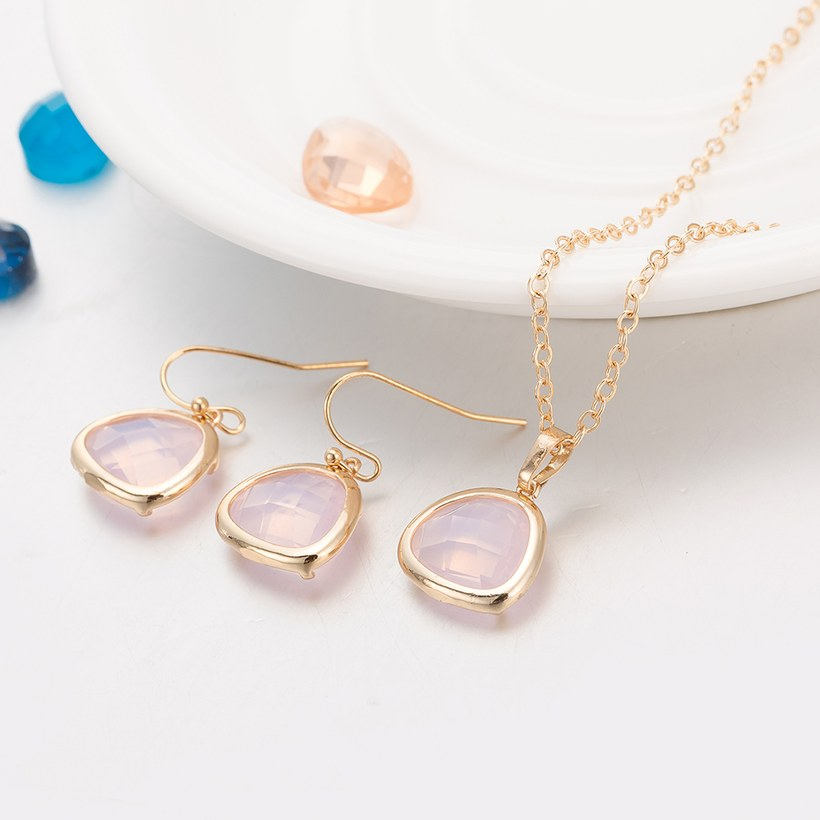 Wholesale Trendy Antique Gold Heart Pink Glass Jewelry Set TGCJS036 2