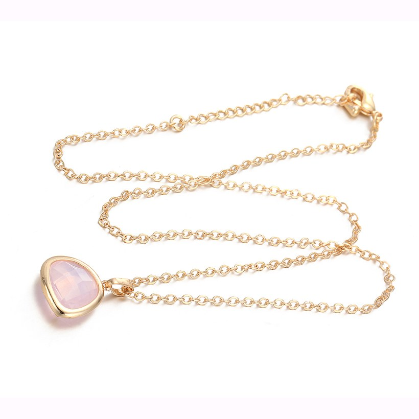 Wholesale Trendy Antique Gold Heart Pink Glass Jewelry Set TGCJS036 5