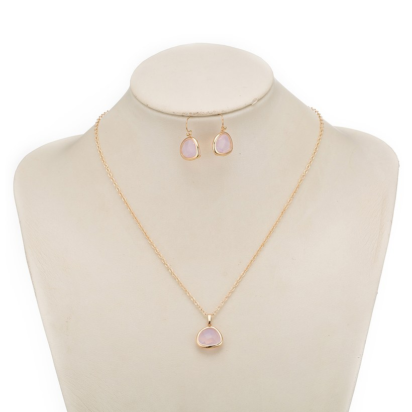 Wholesale Trendy Antique Gold Heart Pink Glass Jewelry Set TGCJS036 7
