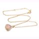 Wholesale Trendy Antique Gold Heart Pink Glass Jewelry Set TGCJS038 4