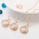 Wholesale Trendy Antique Gold Heart Pink Glass Jewelry Set TGCJS038 7