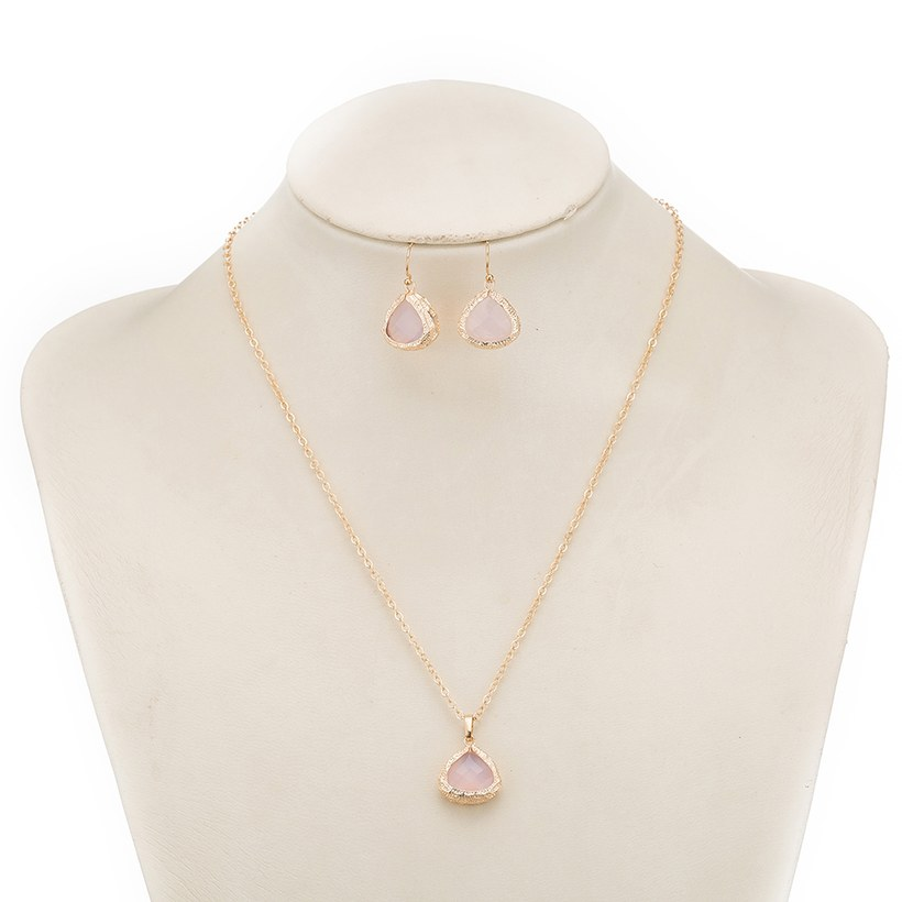 Wholesale Trendy Antique Gold Heart Pink Glass Jewelry Set TGCJS038 9
