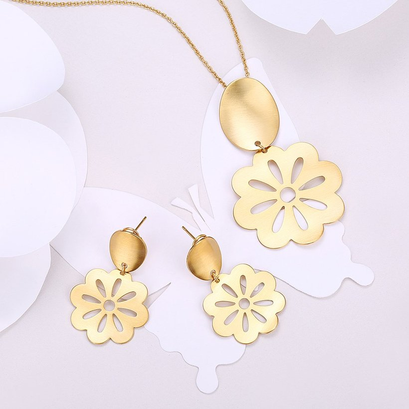 Wholesale Classic Gold Plant Jewelry Set TGGPJS099 0
