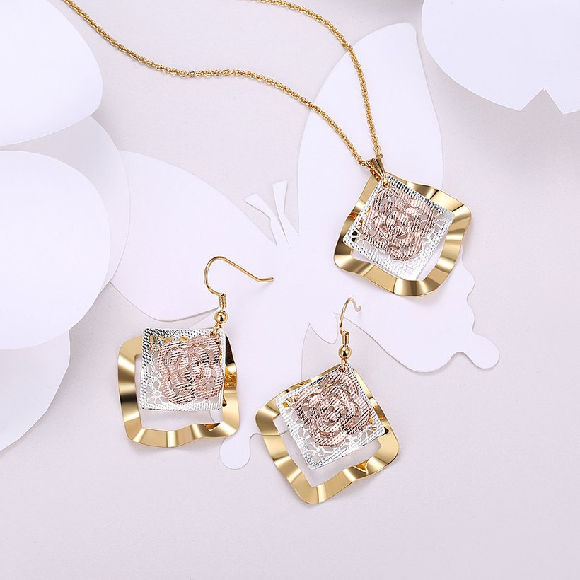 Wholesale Classic Gold Square Jewelry Set TGGPJS180 0