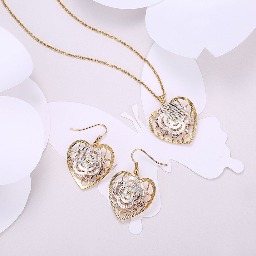 Wholesale Classic Gold Heart Jewelry Set TGGPJS192 0