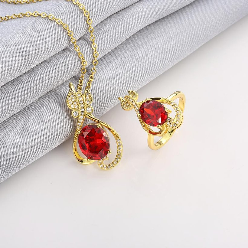 Wholesale Trendy 24K Gold Plant CZ Jewelry Set TGGPJS304 4