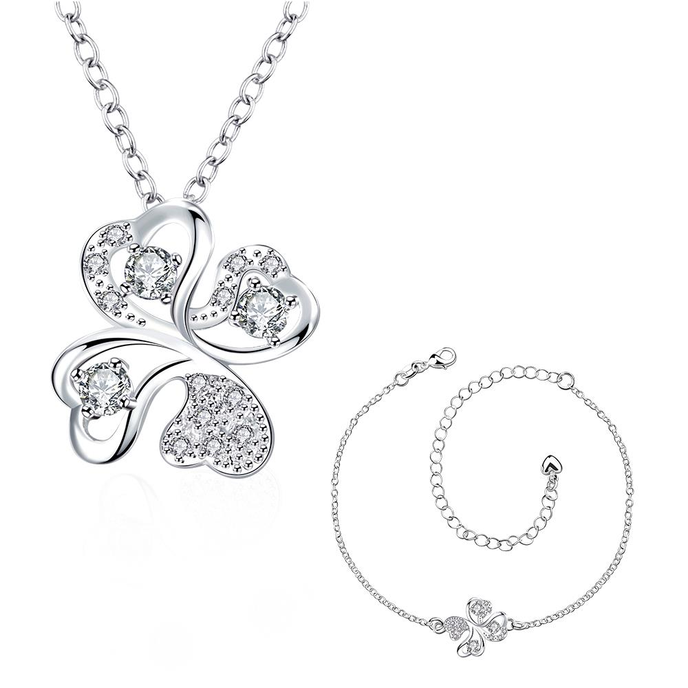 Wholesale Trendy Silver Plant Glass Jewelry Set TGSPJS437 0
