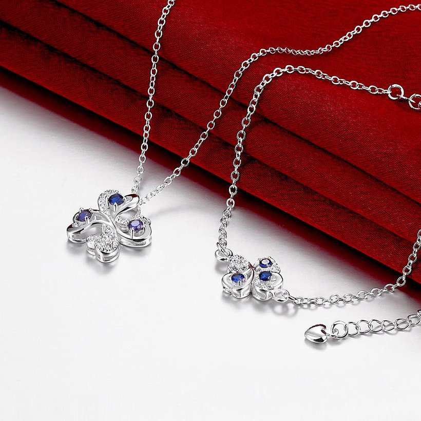 Wholesale Trendy Silver Plant Glass Jewelry Set TGSPJS437 3