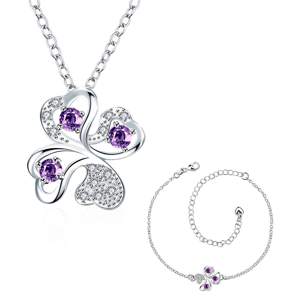Wholesale Trendy Silver Plant Glass Jewelry Set TGSPJS437 4