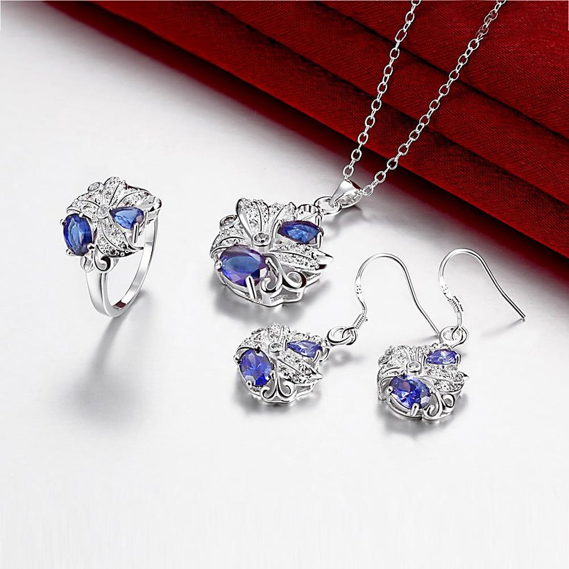 Wholesale Trendy Silver Plant Glass Jewelry Set TGSPJS480 0