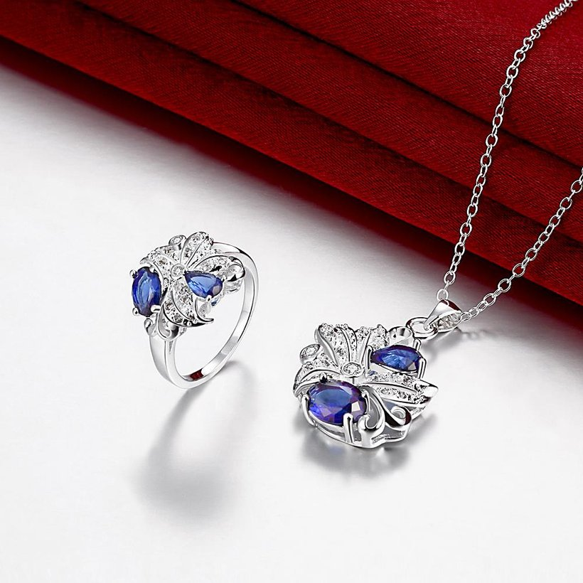 Wholesale Trendy Silver Plant Glass Jewelry Set TGSPJS485 1