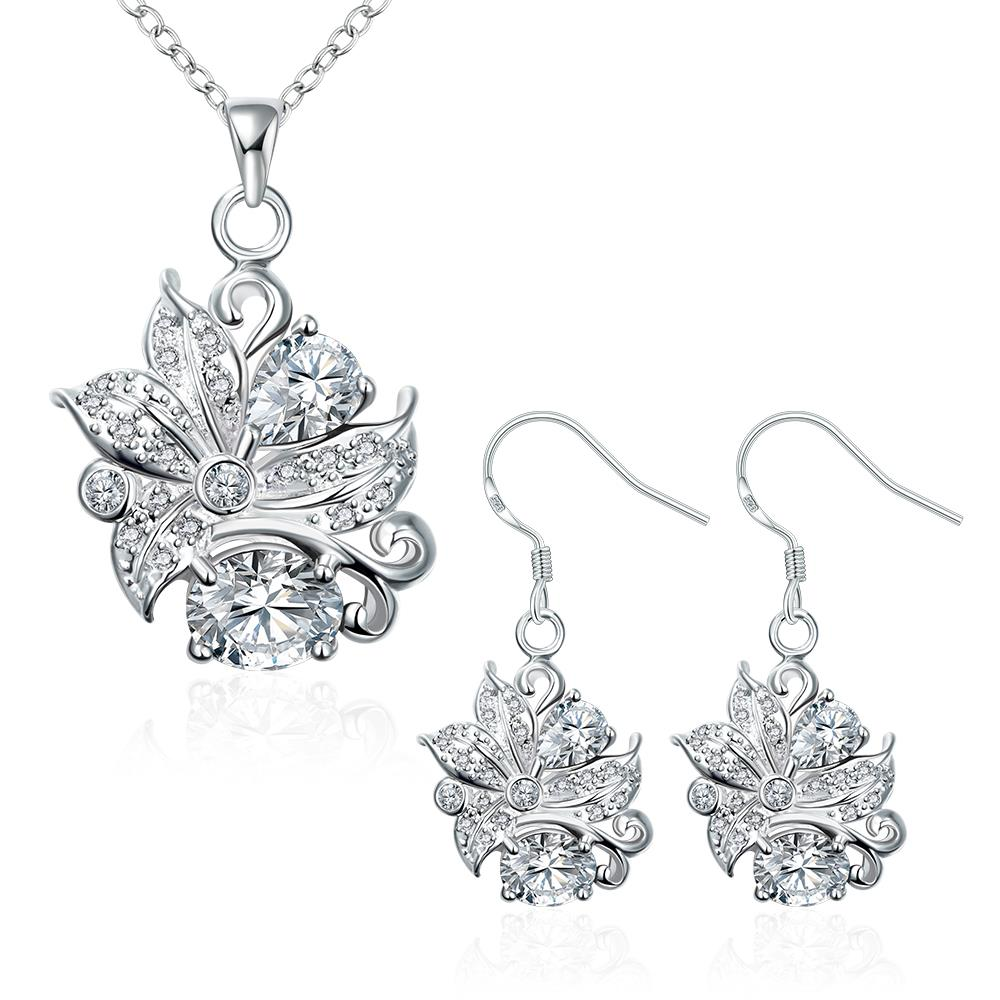 Wholesale Trendy Silver Plant Glass Jewelry Set TGSPJS490 0