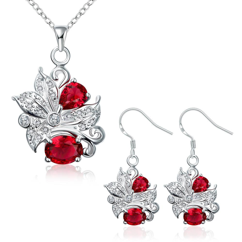 Wholesale Trendy Silver Plant Glass Jewelry Set TGSPJS490 1