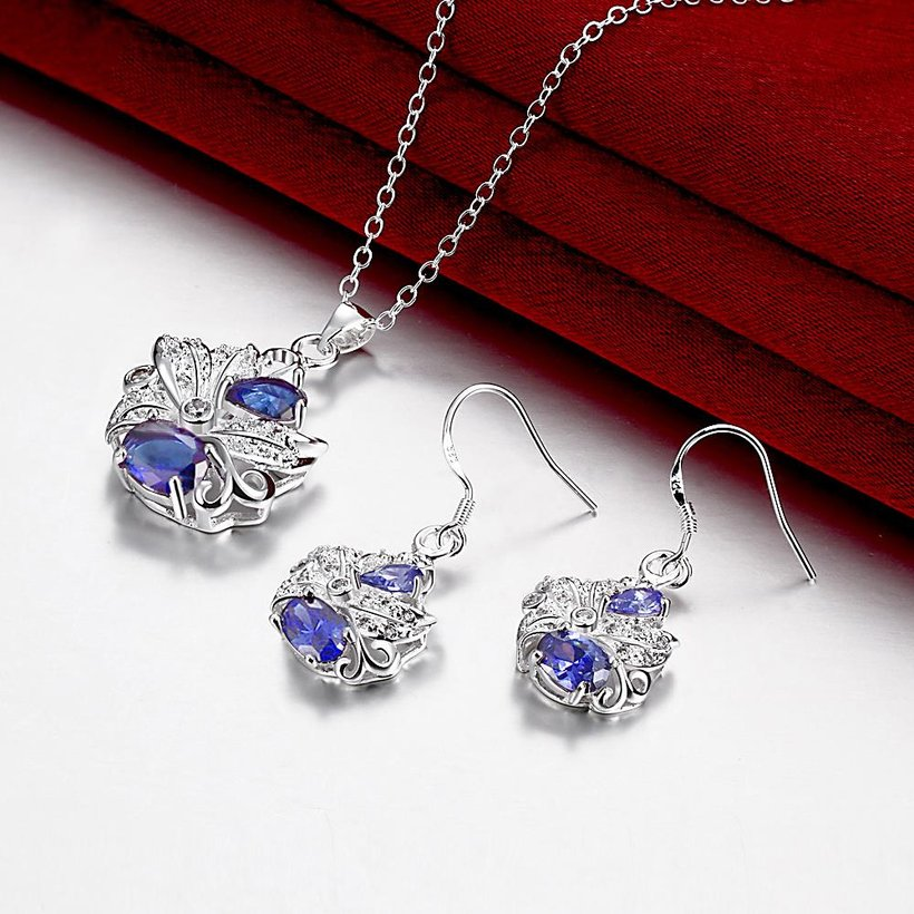 Wholesale Trendy Silver Plant Glass Jewelry Set TGSPJS490 2
