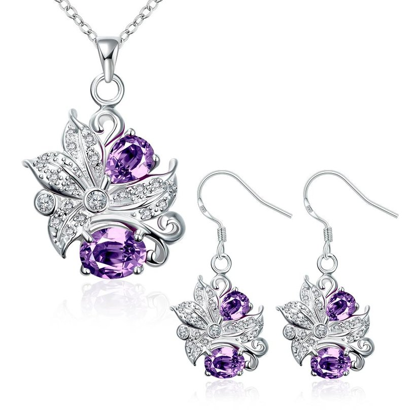 Wholesale Trendy Silver Plant Glass Jewelry Set TGSPJS490 3