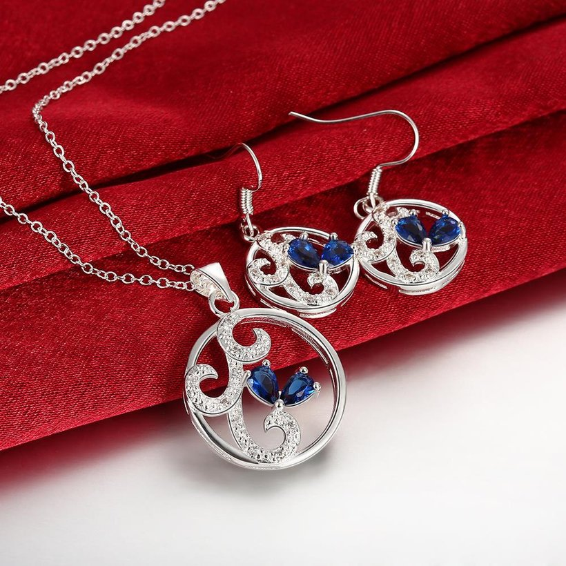 Wholesale Classic Silver Round CZ Jewelry Set TGSPJS680 0