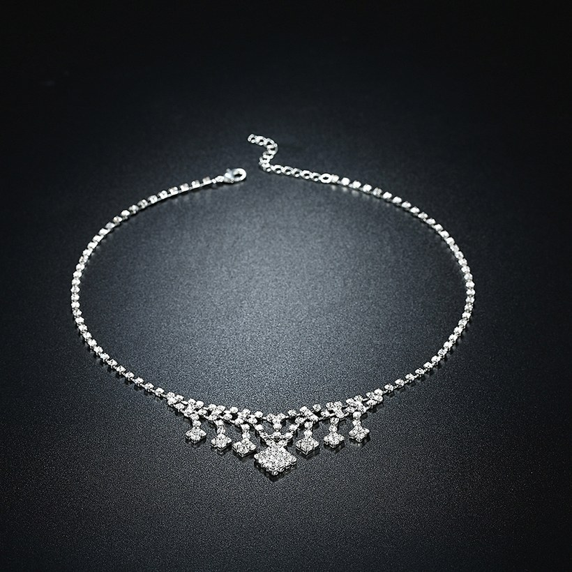 Wholesale Romantic Silver White Crystal Jewelry Set TGSPJS798 1