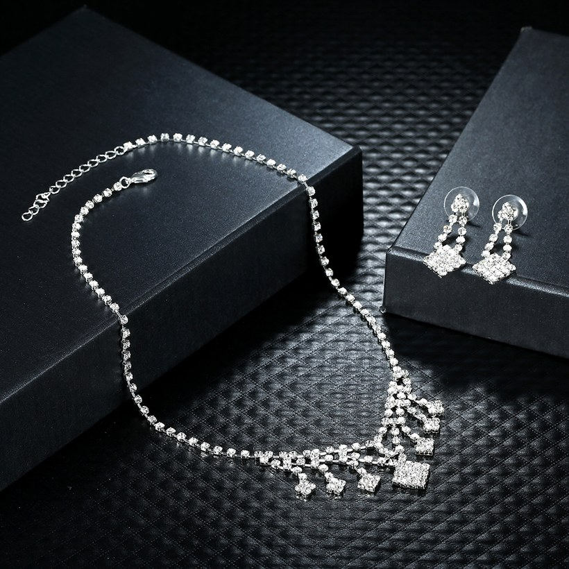 Wholesale Romantic Silver White Crystal Jewelry Set TGSPJS798 2
