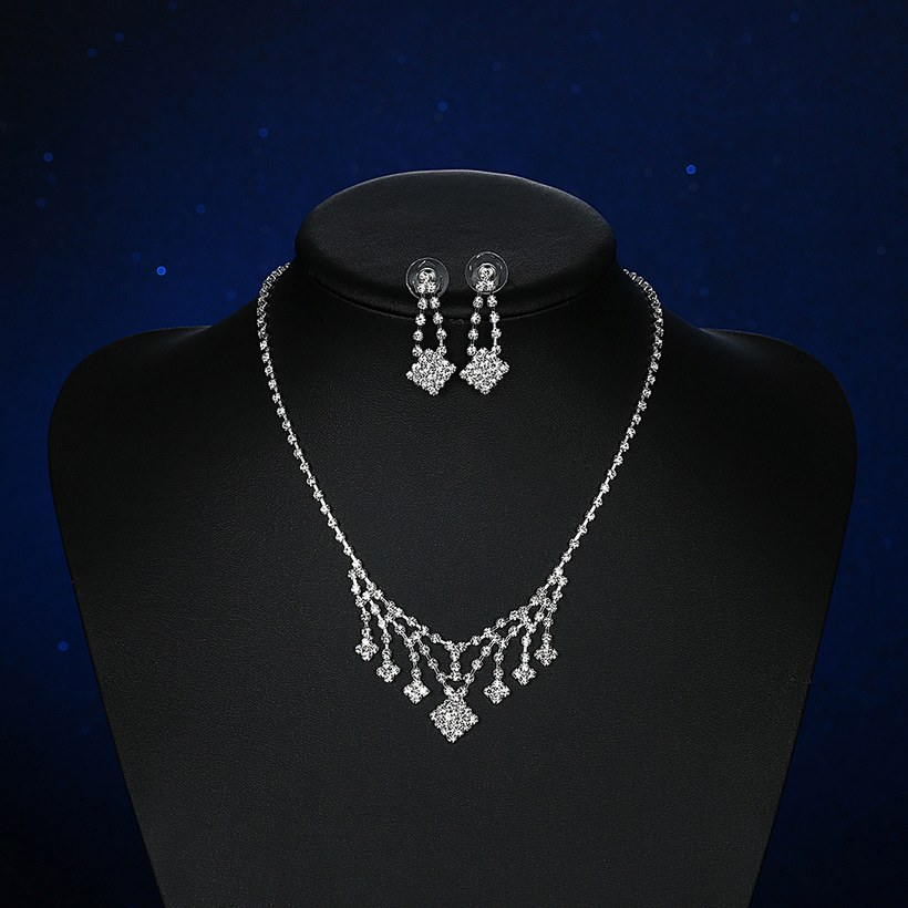 Wholesale Romantic Silver White Crystal Jewelry Set TGSPJS798 3