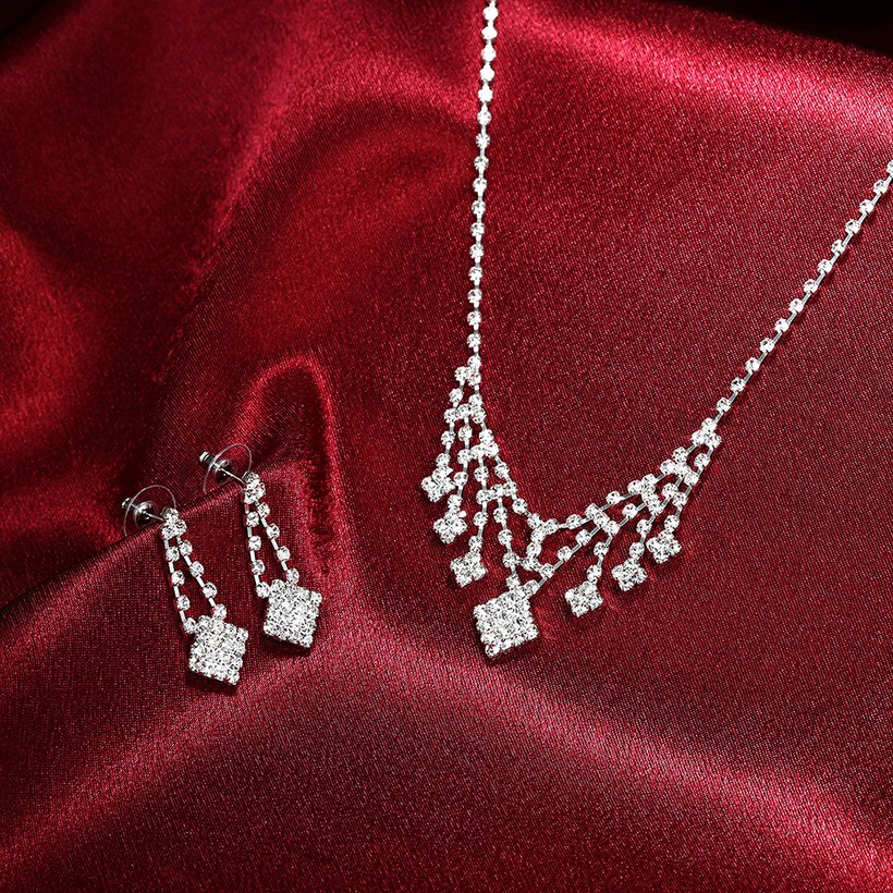 Wholesale Romantic Silver White Crystal Jewelry Set TGSPJS798 4