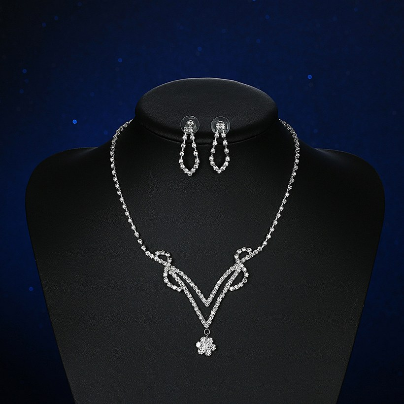 Wholesale Romantic Silver Plant White Crystal Jewelry Set TGSPJS813 3