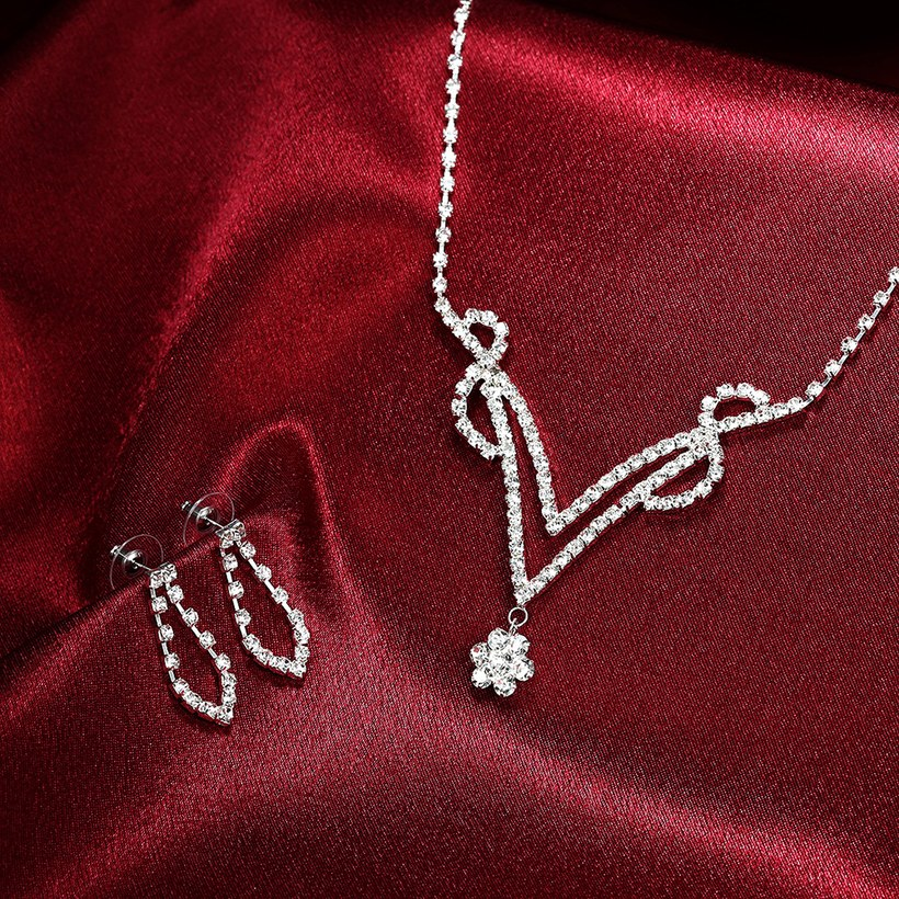 Wholesale Romantic Silver Plant White Crystal Jewelry Set TGSPJS813 4