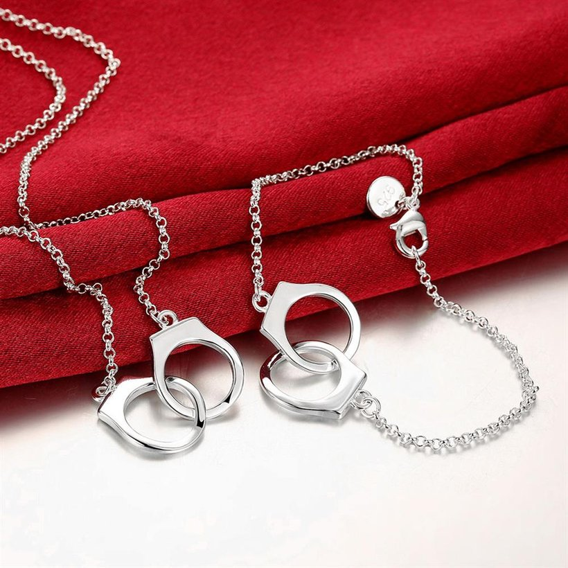 Wholesale Romantic Silver Round Jewelry Set TGSPJS066 1