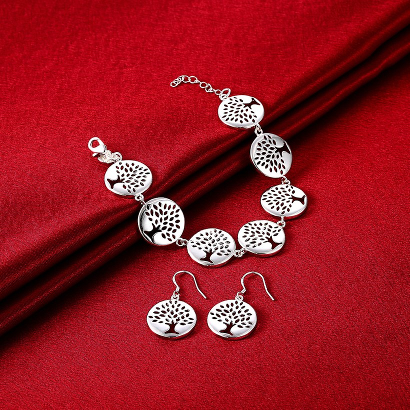 Wholesale Trendy Silver Plant Jewelry Set TGSPJS457 0