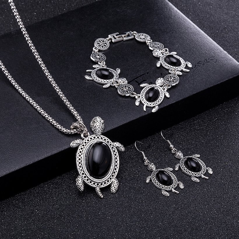 Wholesale Antique Silver Tortoise Glass Jewelry Set TGSPJS144 0