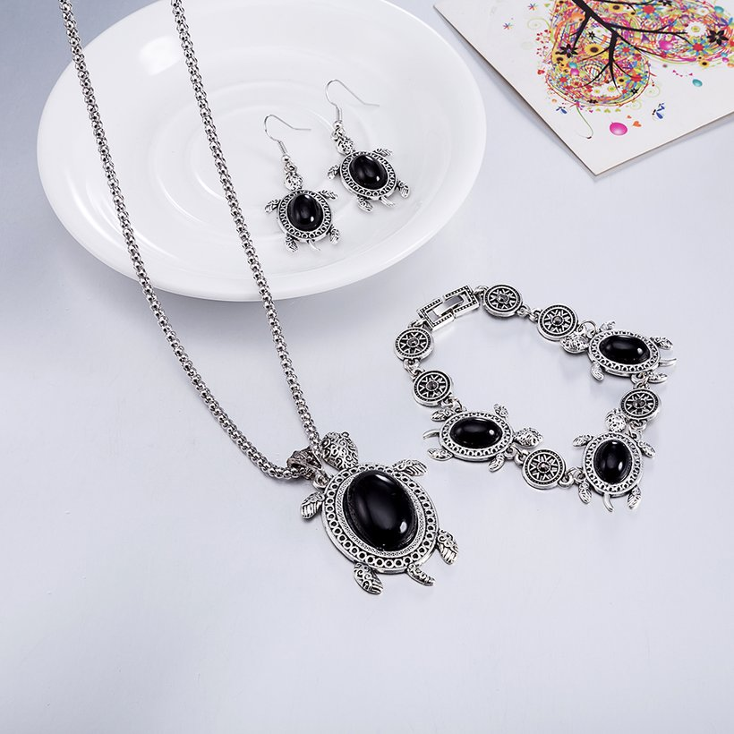 Wholesale Antique Silver Tortoise Glass Jewelry Set TGSPJS144 4