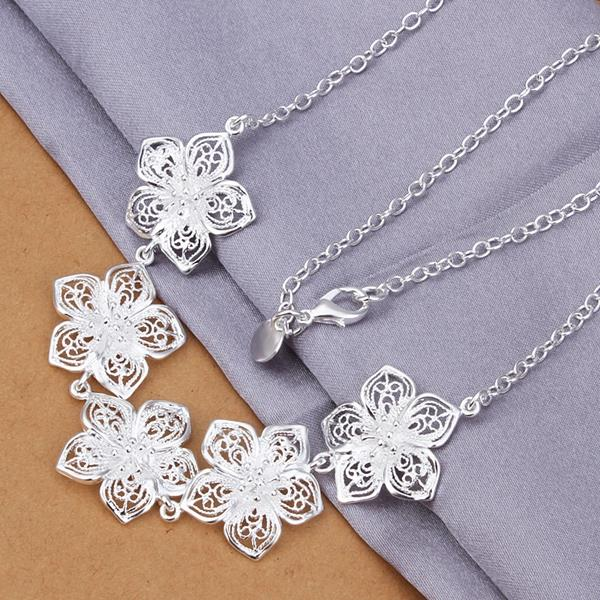 Wholesale Romantic Silver Plant Jewelry Set TGSPJS271 1