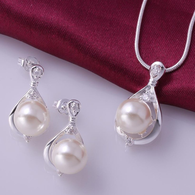 Wholesale Trendy Silver Round Crystal Jewelry Set TGSPJS234 0