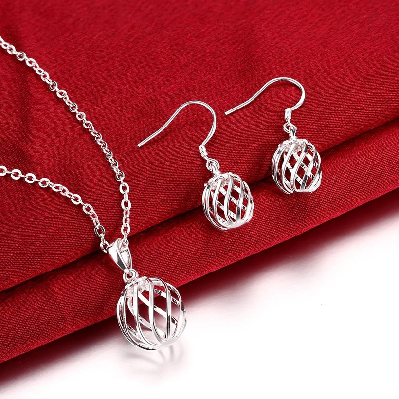 Wholesale Romantic Silver Round Jewelry Set TGSPJS379 2