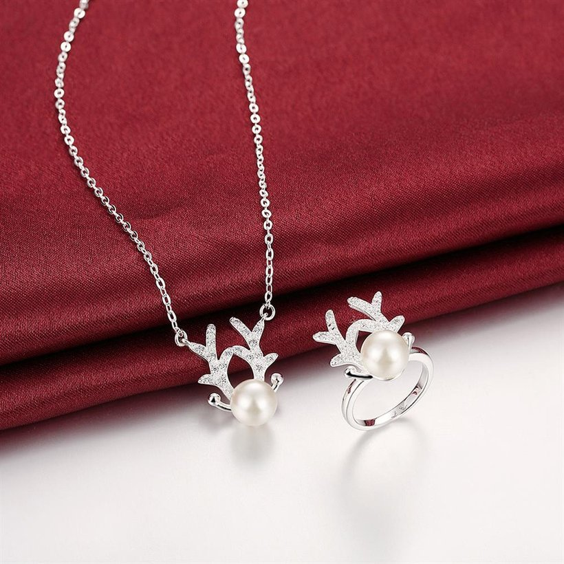 Wholesale Romantic Silver Animal CZ Jewelry Set TGSPJS523 0