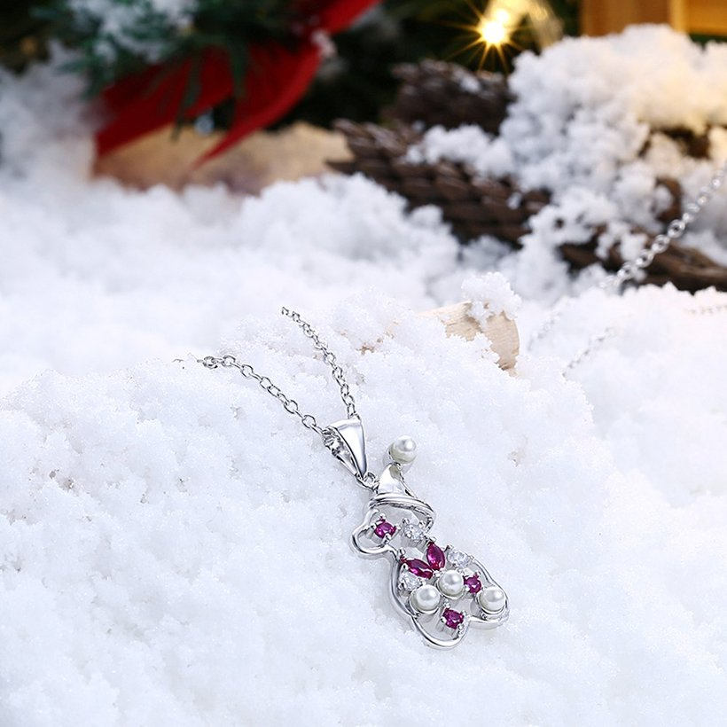 Wholesale Christmas Day Women Necklace Snowman Modeling Pendant Copper Necklace For Women Inlaid Cubic Zircon Cute Fashion Jewelry TGGPN389 1