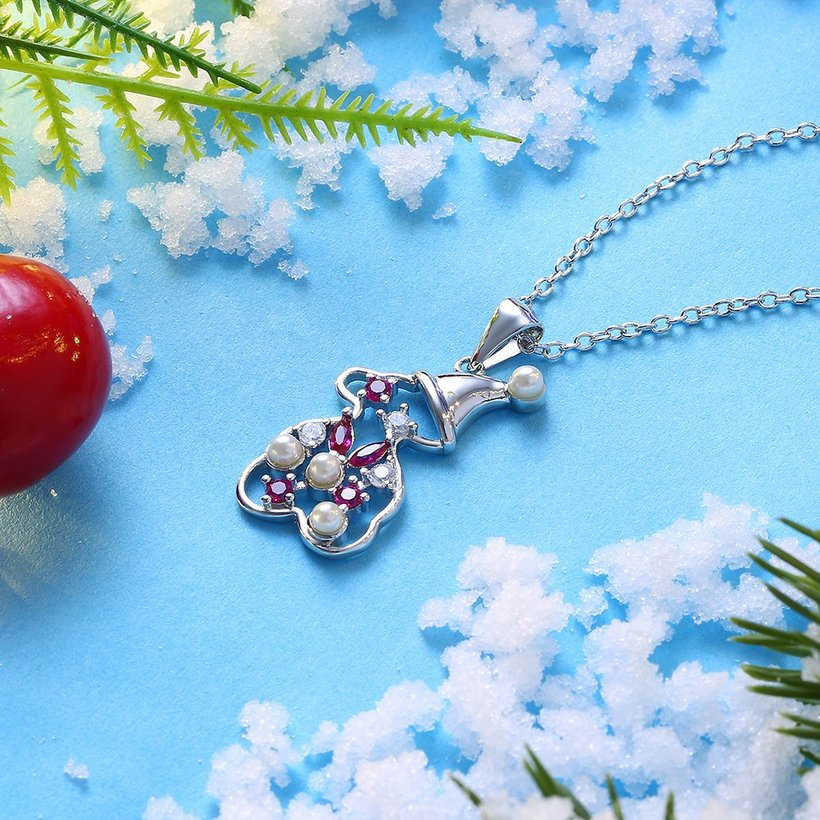 Wholesale Christmas Day Women Necklace Snowman Modeling Pendant Copper Necklace For Women Inlaid Cubic Zircon Cute Fashion Jewelry TGGPN389 3